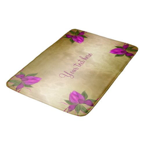 Pink Bloom on Gold Personalized Bath Mat