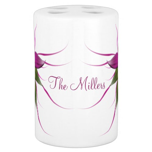 Pink Bloom on White Personalized Bathroom Set