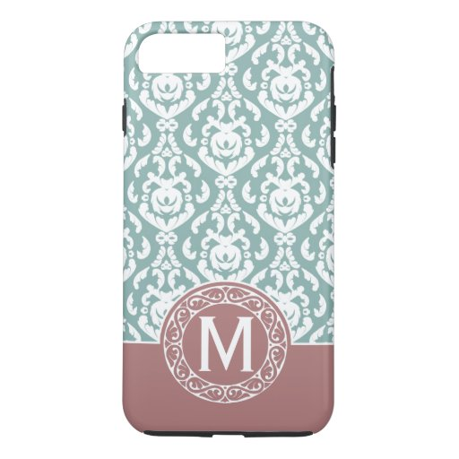 Pink Blue Damask Monogram iPhone 7 Plus Case