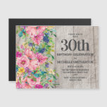 Pink Blue Floral Rustic Wood 30th Birthday