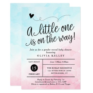 Pink & Blue Gender Reveal Baby Shower Invitation