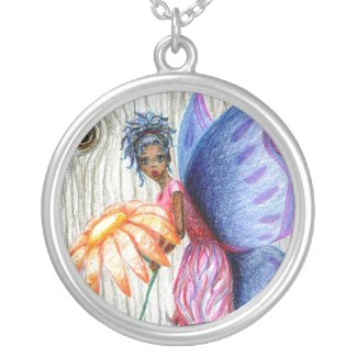 Pink Blue Pixie Fairy PickingFlower Drawing Sketch Custom Jewelry