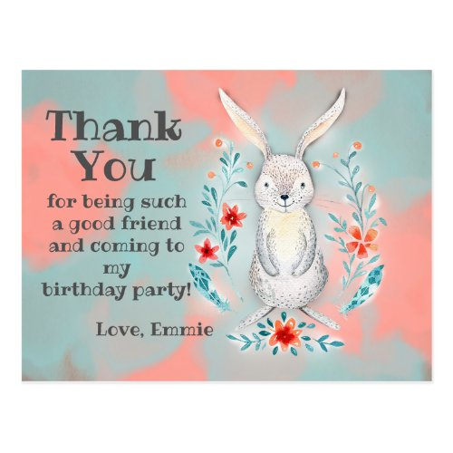 Pink Blue Watercolor Bunny Rabbit Birthday Thank Postcard
