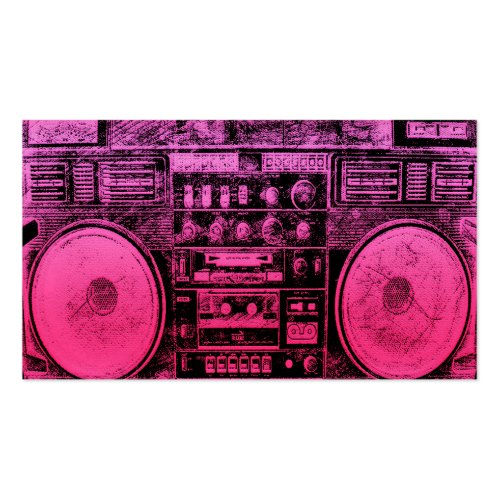 pink boombox business card