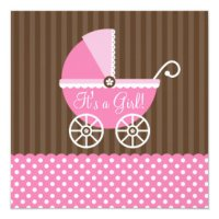 Pink And Brown Polka Dot Baby Shower Invitations ...