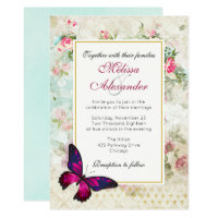 Pink Butterfly and Vintage Rose Collage Wedding Card
