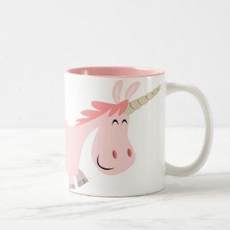 Pink Cartoon Unicorn mug mug