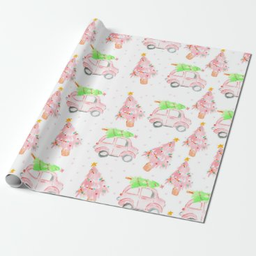 Pink christmas car holiday wrapping paper