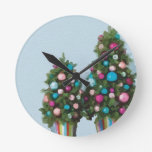 Pink Christmas Trees Super Cute Collection Round Wallclocks