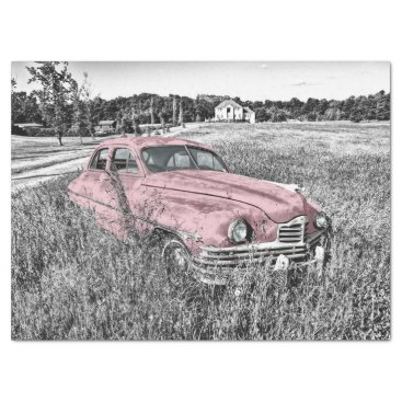 Pink Classic Car Decoupage Tissue Paper