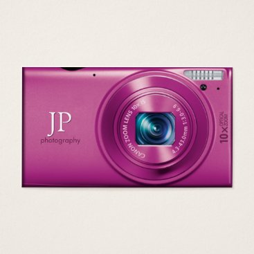 Pink Compact Camera Photographer Business Card