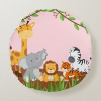 Pink Cute Jungle Baby Animals Round Pillow