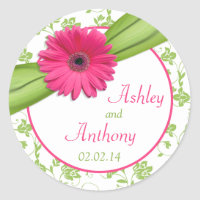 Pink Daisy Green White Floral Wedding Stickers
