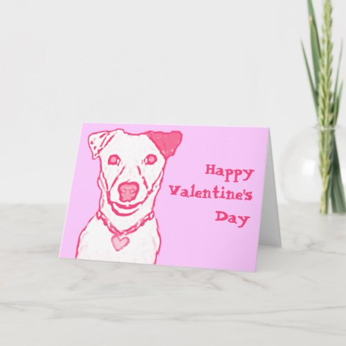 Pink Dog Valentine's Card