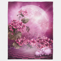 Pink Easter Rabbits Large Fleece Blanket