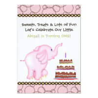 Pink Elephant First Birthday Invitation for Girls