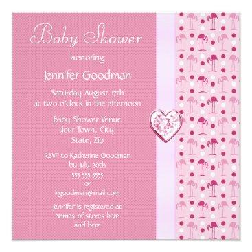 Pink Flamingo Girl Baby Shower Invites