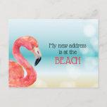 Pink Flamingo on Bokeh Beach New Address Announcement Postcard