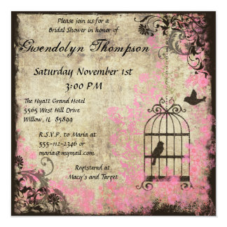 Pink Fl Birdcage Bridal Shower Invitation