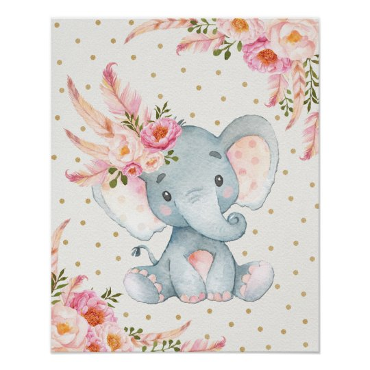 pink floral elephant nursery