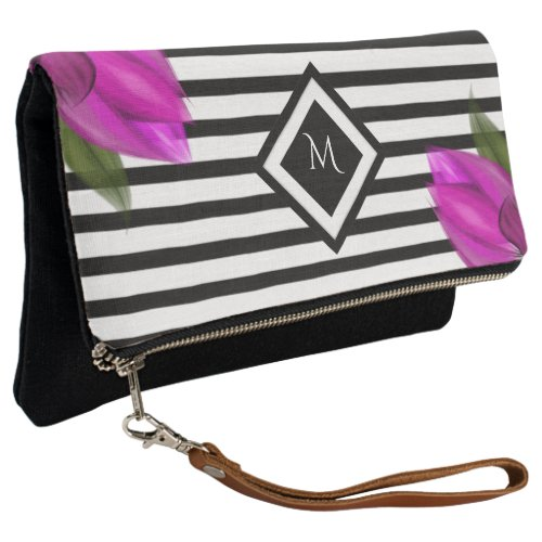 Pink Floral Striped Monogram Clutch