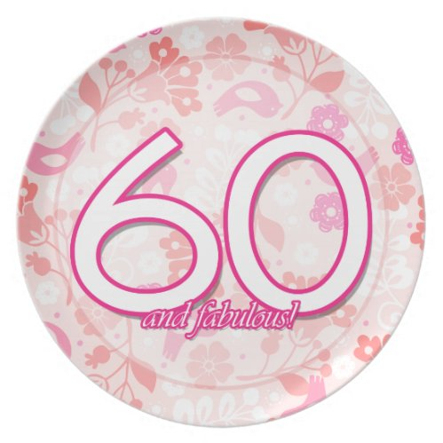 Pink Floral With Birds 60th Birthday Plate