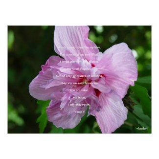 Pink Flower With Poetry Poster