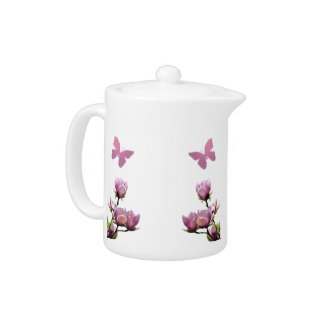 Pink Flowers and Butterflies Tea Pot teapot