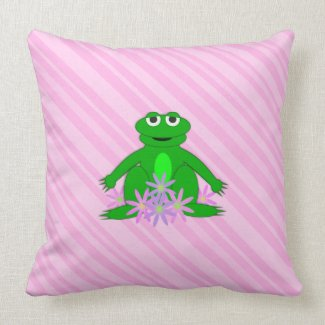 Pink: Frog On A Spring Day: Throw PIllow