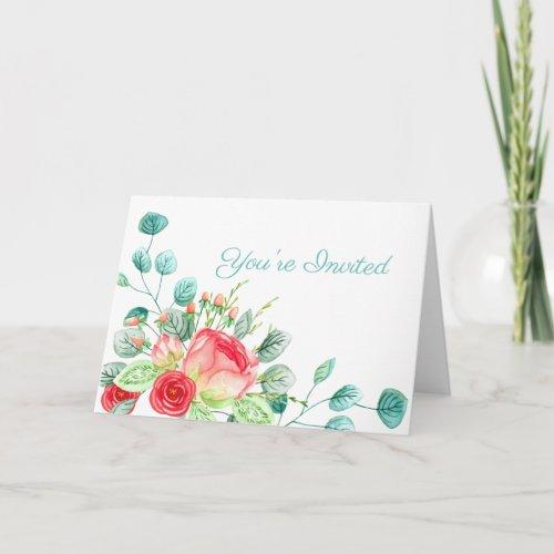 Pink Garden Watercolor Rose Bouquet Bridal Shower Card