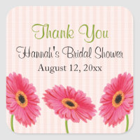 Pink Gerbera Daisy Bridal Shower Stickers Personal