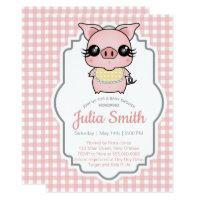 Pink Gingham Piggy Baby Shower Invitation