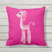 Pink Giraffe Outdoor Pillow | Zazzle