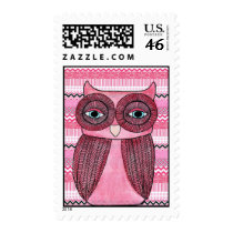 Pink Girly Funky Owl Postage Stamp