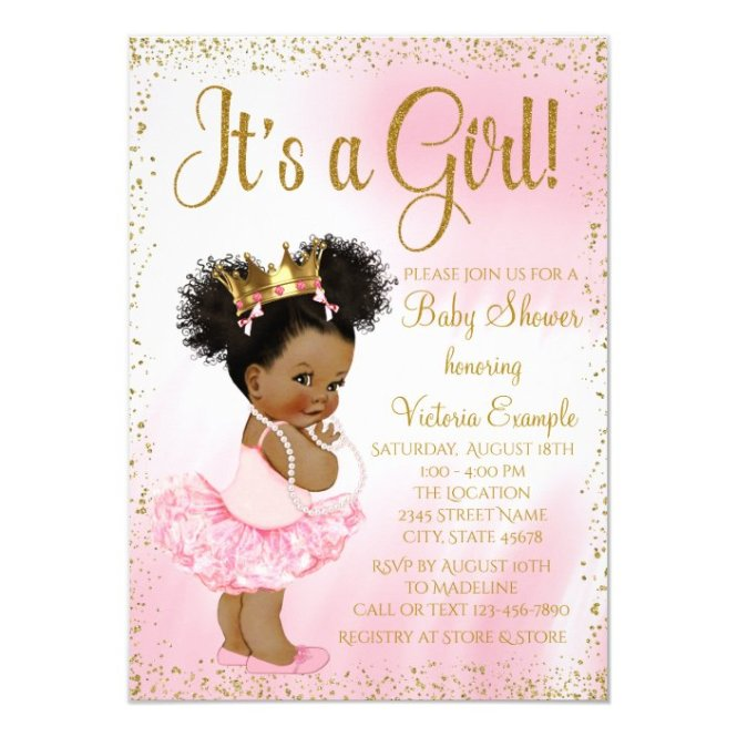 Pink Gold African American Princess