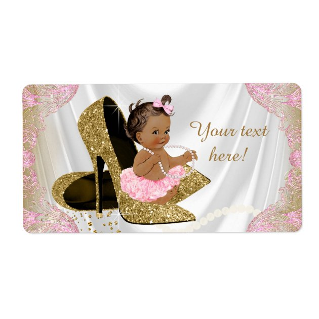 Pink Gold Baby Shower Water Bottle Labels Zazzle Com