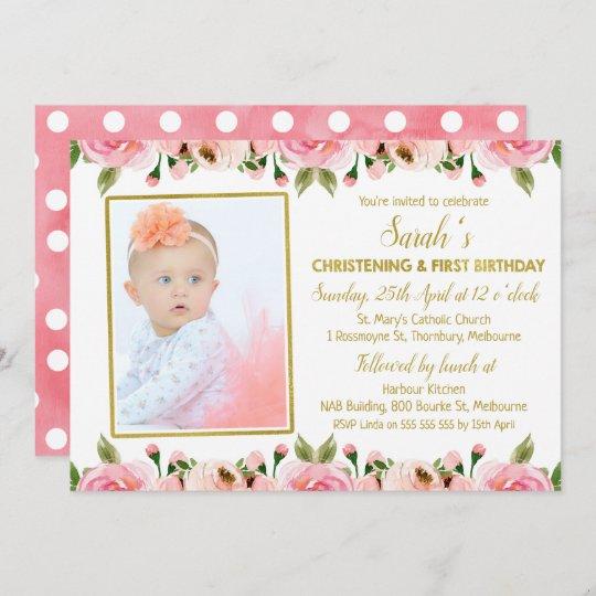 pink gold christening 1st birthday invitation zazzle com