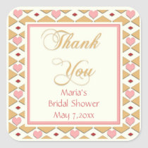 Pink Gold Hearts Diamonds Thank You Stickers