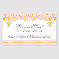 Pink gold lace damask border candy buffet wedding rectangular stickers