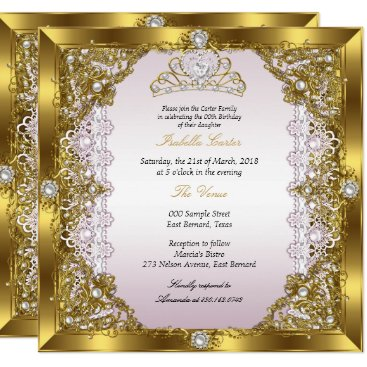 Pink Gold Pearl Lace Tiara Damask Birthday Party Invitation