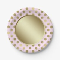 Pink Gold Polka Dot Birthday Party Paper Plate | Zazzle.com
