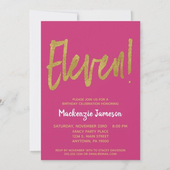 pink gold script 11th birthday party invitation zazzle com