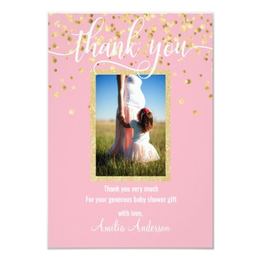 Pink Gold THANK YOU Baby Shower Girl | PHOTO Invitation