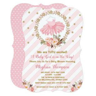 Pink Gold Tutu Baby Shower Invite Ballerina Ballet