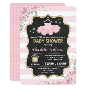 Pink Gold Tutu Ballerina Baby Shower Invitation