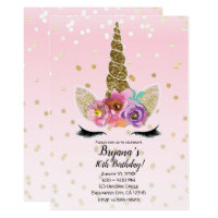 Pink & Gold Unicorn Floral Horn Birthday Party Card