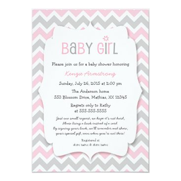 Pink Gray Girl Baby Shower Invites bring a book