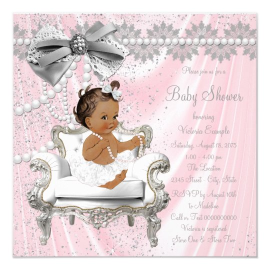 baby girl chair massage power adapter pink gray pearl ethnic shower invitation zazzle com