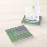 Pink Green Blue Yellow Zigzag Pattern Glass Coaster