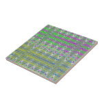 Pink Green Blue Yellow Zigzag Pattern Small Square Tile